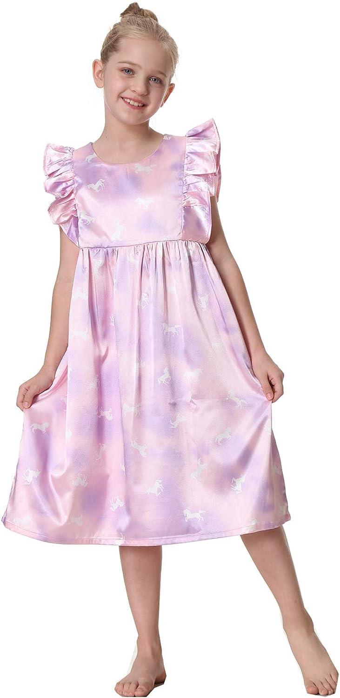 Girls Nightgown Nightdress Silky Satin Pajamas Dress for Kids Sleepwear Nighty 4-12Years