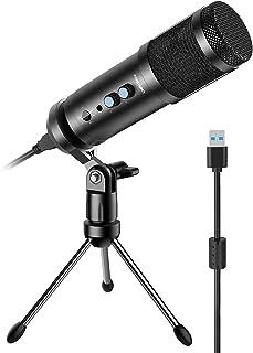 Micrófono para computadora, condensador de grabación multiuso para Mac y Windows, micrófono de estudio profesional Plug&Pl...