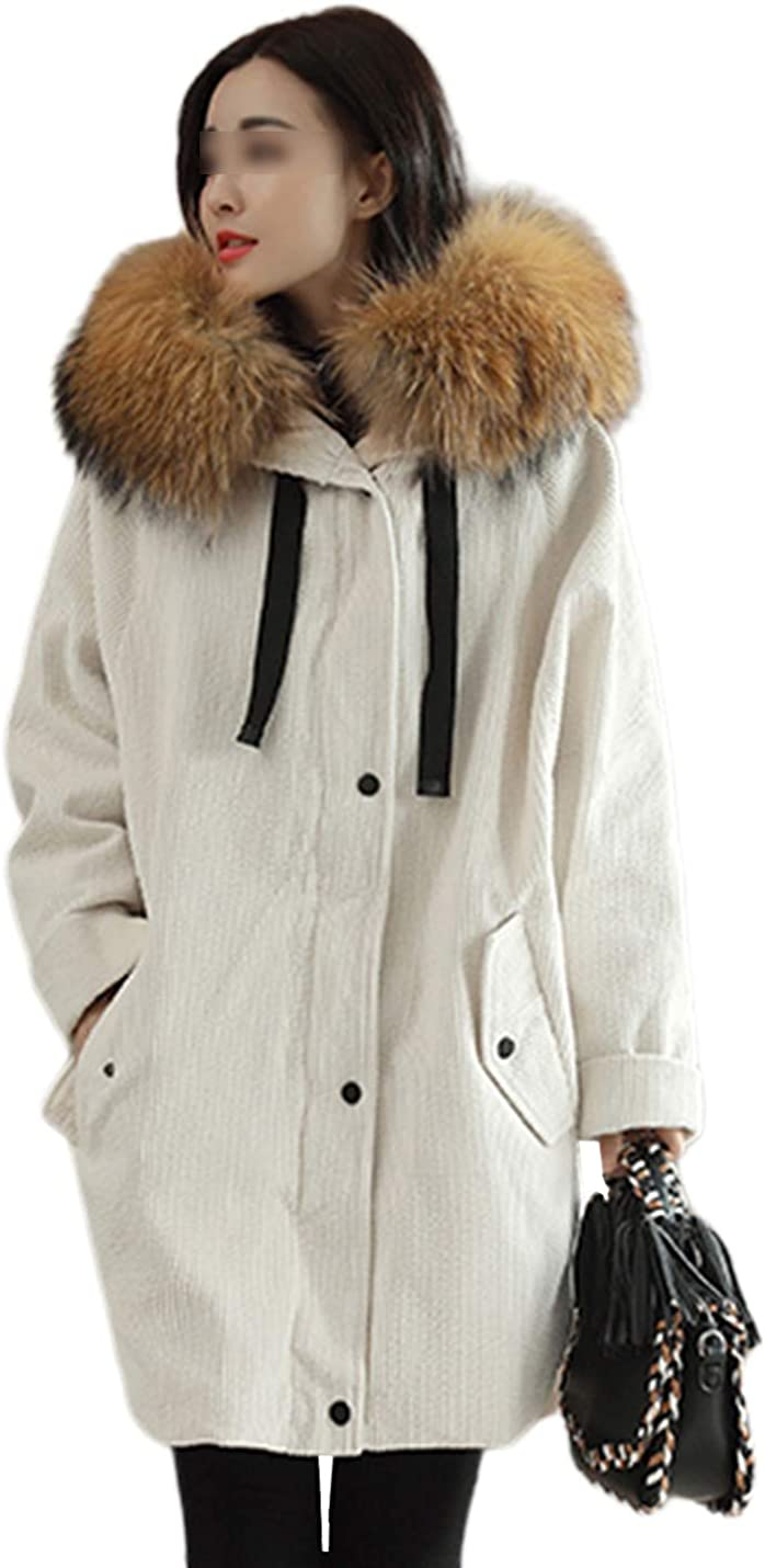 Uaneo Women's Casual Thick Faux Fur Collar Hoodie Corduroy Mid Long Parka Jackets(White-XXL)