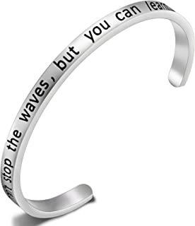 FEELMEM Inspirational Bracelet Awareness Jewelry Bracelet Motivational Quote Cuff Bangle- You Can't Stop The Waves But You Can Learn to Surf