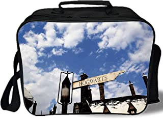 Wizard 3D Print Insulated Lunch Bag,School of Witchcraft Castle and Wizard Signboard Snowy Rooftops Sky and Clouds,for Work/School/Picnic,Blue White