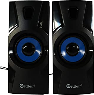 Getttech Stereo Speakers 2.0 for pc Compact and Portable in-line Audio controler Black/Blue (sk1000)