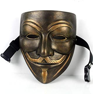 V for Vendetta Mask Anonymous Movie Guy Fawkes Halloween Masquerade Party Costume Prop Toys Bronze