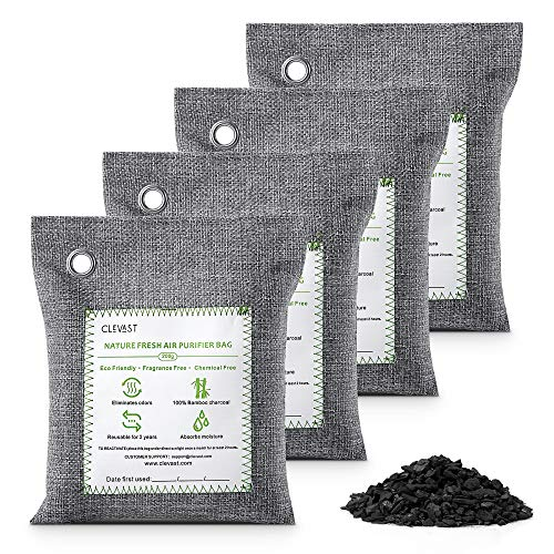 CLEVAST Bamboo Charcoal Air Purifying Bags (4×200g), Removes Odors and Moisture, Nature Fresh Air Purifier Bags for Home, Car, Pets, Bathroom, Basement
