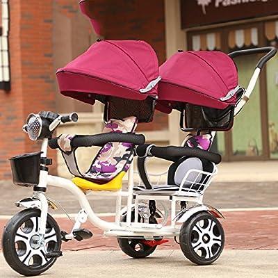 LZTET 3 Ruedas Baby Artifact Child Trolleys Lightweight Baby Twins Zebra Paraguas Coche,Rosered