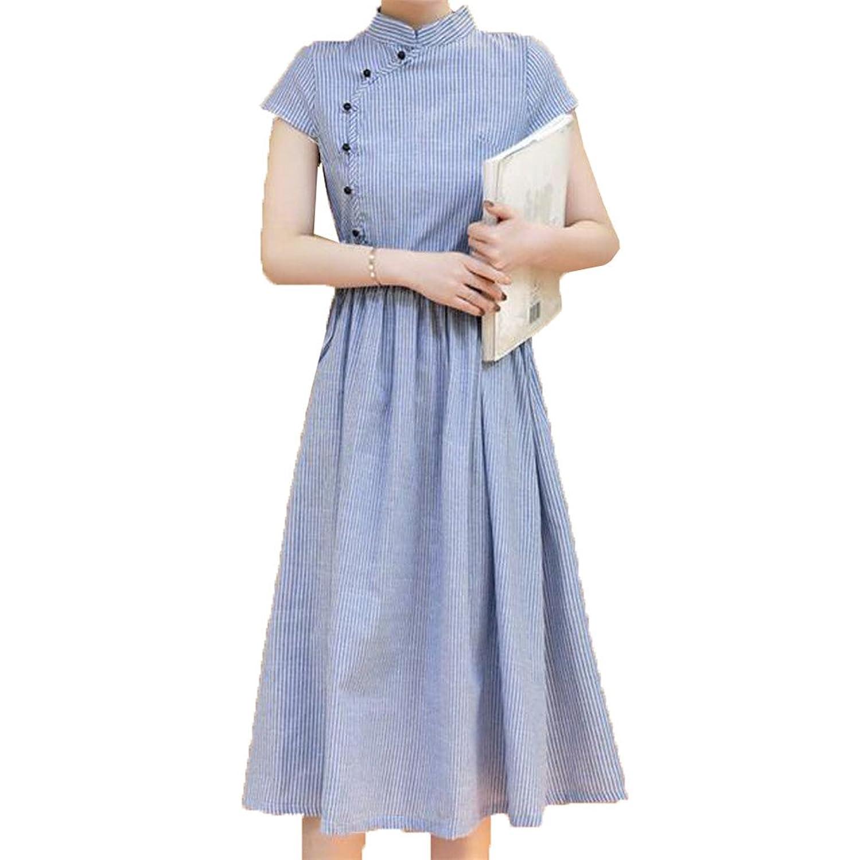 [美しいです] 夏 女性 レディース 格子 ストライプ デザインセンス ウエスト 新着 中?長セクション スカート ファッション スリム ロングドレス 半袖 綿麻 中国風 チーパオ