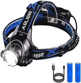 Emdou ヘッドライト USB 充電式 超高輝度 2000ルーメン IPX4級防水 光調節機能3種類 超軽量 90°角度調節可能 軽量型 夜釣り 登山 キャンプ 工事 作業 アウトドアに適用 【PSE認定済み】