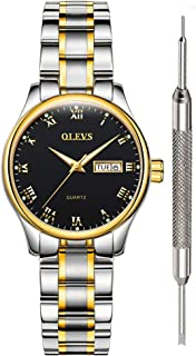 OLEVS Classic Watches Analog Quartz Watch with Stainless Steel Band Rugged Waterproof Watches Roman Numeral Unique Calendar Date Window Business Wrist Watch