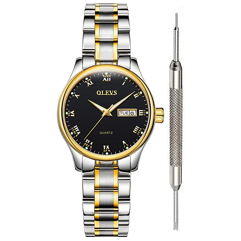Classic Watches-OLEVS Men Women Analog Quartz Watch with Stainless Steel Band, Rugged Waterproof Watches Roman Numeral Unique Calendar Date Window Business Wrist Watch