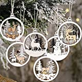 Winter Wonderland Ornaments for Christmas Tree - 6 Pack Christmas Wooden Ornaments for Winter Christmas Holiday Tree Decorations
