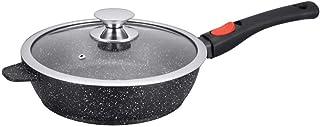 Kamberg - 0008026 - Sartén Profunda 24 cm - Mango Extraíble - Aluminio Fundido - Revestimiento Piedra antiadherente - Tapa de Vidrio - Todos los incendios, incluida la inducción - Sin PFOA