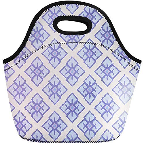 Lunch Tassen Blouse Abstract Etnische Boho Bali Boheemse Border Canvas Tapijt Neopreen Lunch Bag Lunchbox Tote Bag Draagbare Picknick Bag Cooler Bag