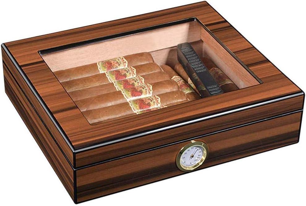 XDJ Hecho De Vidrio Humidor De Puros, Hecho En España Madera De Cedro 25 Piezas, Escritorio Monitor, Cigarro Equipo De Caja
