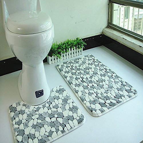 (White-Black)2 pcs Bath Mat Coral Fleece Floor Mats Bathroom Door and Toilet Ground Mat Water Absorption Anti-Slip Anti-Bacteria Rugs