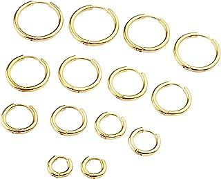 Zysta 7 coppie Set 1,0 millimetri unisex in acciaio inox Orecchini a cerchio per Orecchio Tragus Lip Nose Cartilagine Helix