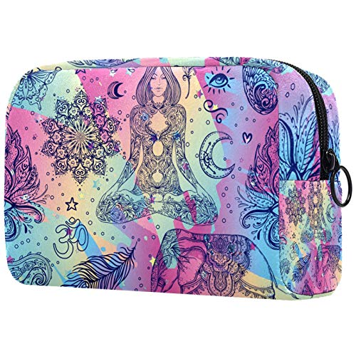 Waterproof Toiletry Bag Accessories Organizer 7.3''x3''x5.1'' Boho Style Elements Wash Bag Cosmetic Organizer Pouch Make up Case Organizer for Women and Girls