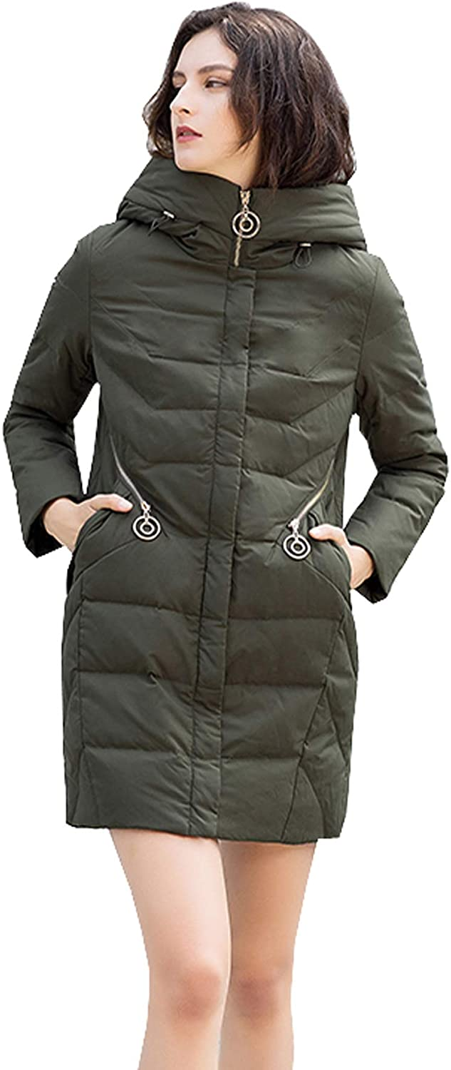 UBCAGSNY Womens Hooded Warm Coats Puffer Parkas HipLength Down Jacket