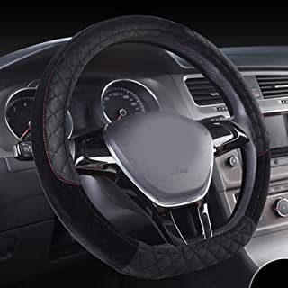 Rayauto Soft Short Warm Plush Quilting Embroidered Anti-Skid D Type Car Steering Wheel Cover (D Shape-Black)
