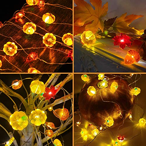 EEEKit 3D LED Lichterkette Neujahr Dekoration 3M 30LED Kürbis Eicheln Ahorn Blatt Lichterketten mit Fernbedienung für Weihnachtsernte Herbst Outdoor Indoor Party Dekor