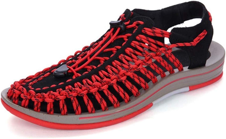 TXSCVBJN Neue Sandalen Herren Sommer Herrenschuhe weiche untere Loch Schuhe Strand Schuhe lssig atmungsaktiv Mode Sandalen Alias Hombre rot