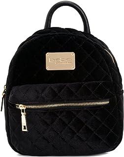 Bebe Maria Velvet Quilted Mini Backpack Black