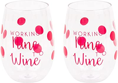 "Mainstreet Collection""Working Nine To Wine"" Acrylic Wine Glasses, Set of 2"