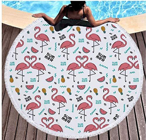 Flamingo Bloem Grote Ronde Strandhanddoek Microvezel Kassen Zand Gratis 150x150cm Picknick Mat Outdoor