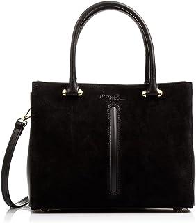 (BLACK) - FIRENZE ARTEGIANI Tote Women's Genuine Leather Bag. Tote Bag Shoulder Bag Made in Italy. Vera Pelle Italy 28 x 24 x 13 cm. Colour: Black.