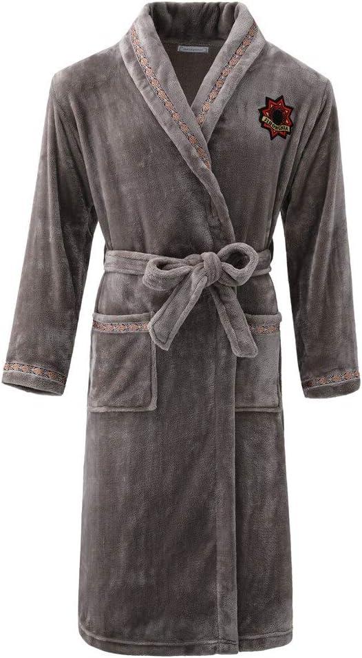 QYLLXSYY Winter Robe Couple Ultra Long Men&Women Kimono Bathrobe Gown Large Size 3XL Flannel Sleepwear Thick Nightwear Casual Homewear Nightgown (Color : Men F, Size : XL)