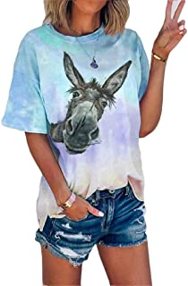 Doufine Women's Loose Fit Funny Short Sleeve All Over Tie-Dye Tunic T Shirts Tops Blouse