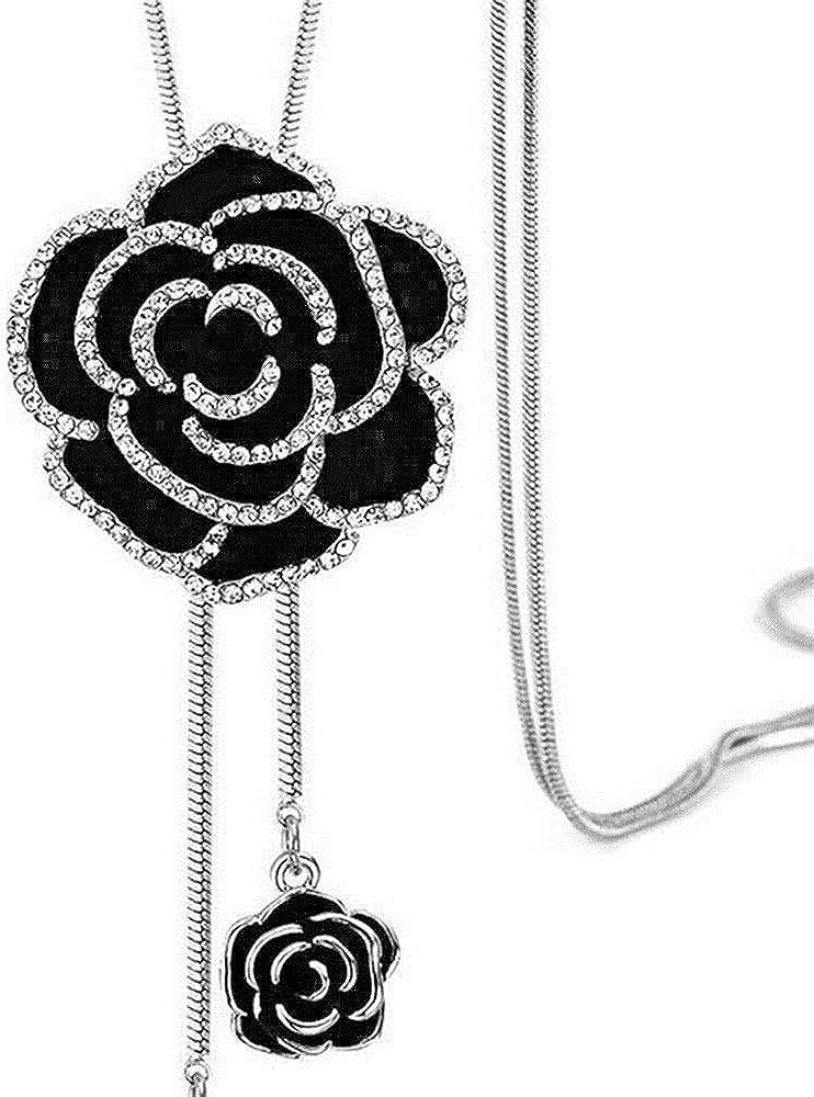 ERAWAN Fashion Women Black Rose Flower Long Necklace Sweater Chain Crystal Jewelry Gift EW sakcharn