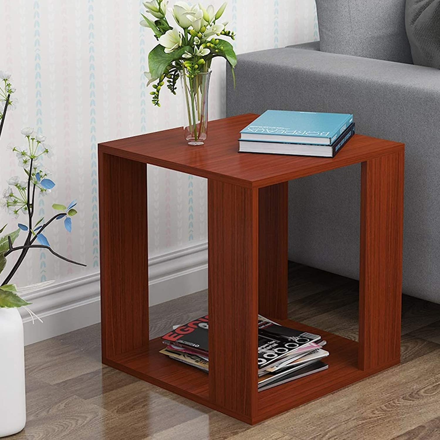 ZfgG Small Coffee Table Living Room Sofa Side Table Bedroom Bedside Table Small Square Table with Wheels (color   Teak color, Size   40x40x43cm)