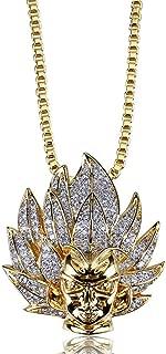 Hip Hop Men Jewelry CZ Cartoon Super Saiyan Goku Avatar Pendant Necklace for Men