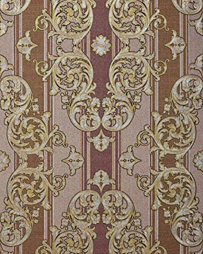 Barock-Tapete EDEM 580-34 Hochwertige geprägte Tapete in Textiloptik und Metallic Effekt rot-braun...