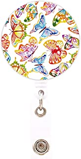 HEYGOO Butterfly Badge Holder, Retractable ID Name Card Badge Reel with Swivel Alligator Clip