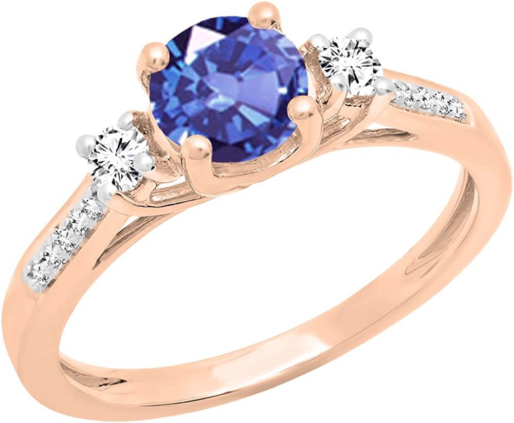 Dazzlingrock Collection 10K 5 MM Round Lab Created Gemstone & Diamond Ladies 3 Stone Engagement Ring, Rose Gold