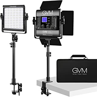 GVM RGB LED Video Light Kit with C-Clamp Stand, 2 Packs Video lighting with App Control, Photography Lighting for YouTube ...