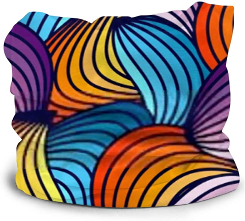 Headbands For Men Women Neck Gaiter, Face Mask, Headband, Scarf Blue Edging Seamless Pattern Colorful Wave Turban Multi Scarf Double Sided Print Sports Headbands For Women For Sport Outdoor