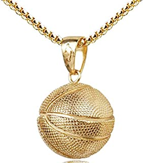 Fashion Basketball Pendant Necklace Stainless Steel Chain Hip Hop Sports Necklace Fitness Jewelry