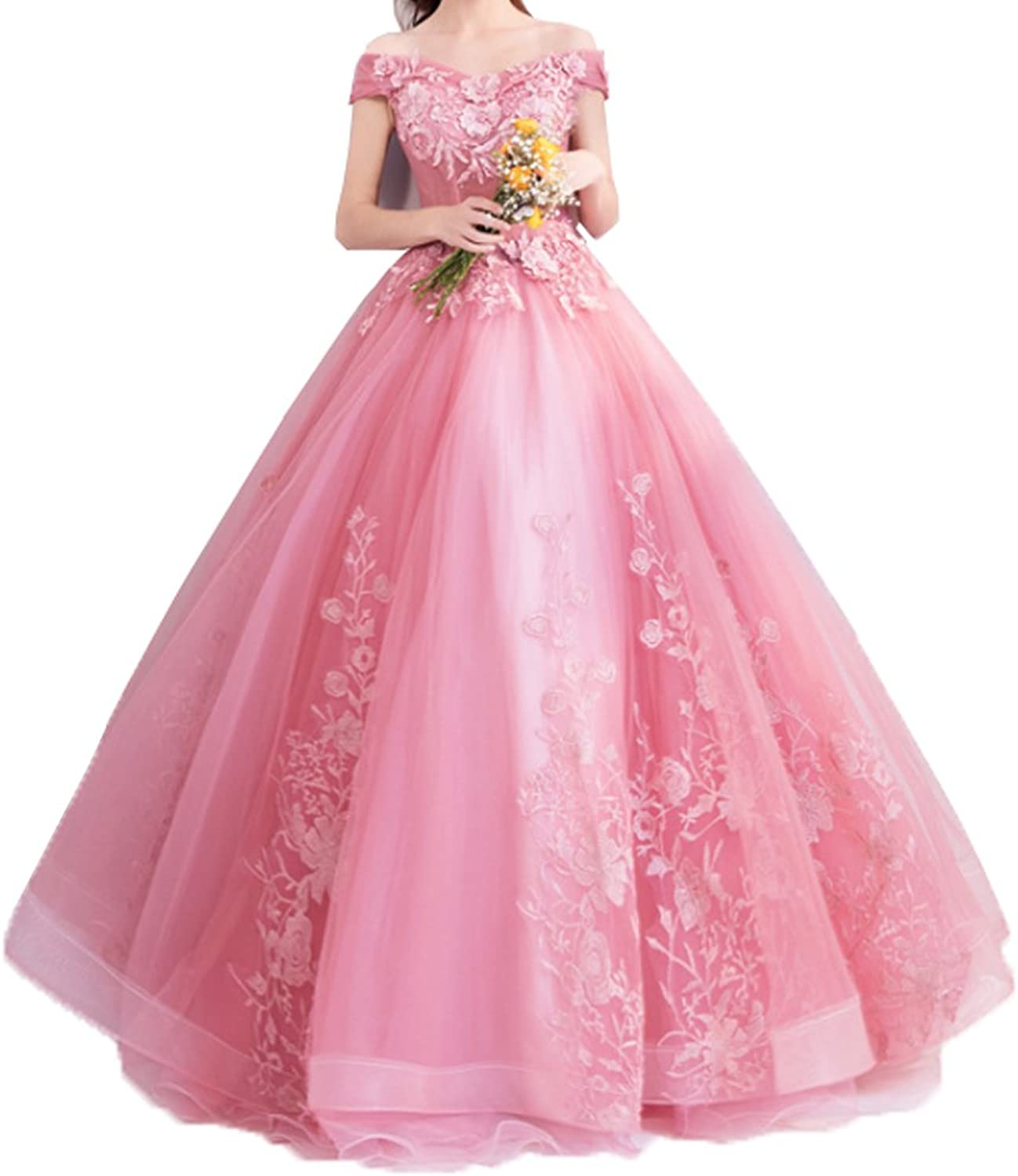 Onlybridal Women's Quinceanera Dress Tulle Appliques Beaded Flower Off Shoulder Ball Gown Lace up Corset Sweet 16 Dress