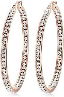 CiNily Mult-colors Crystal Stainless Steel Hoop Earring for Women Hypoallergenic Jewelry for Sensitive Ears Large Big Hoop Earrings 2