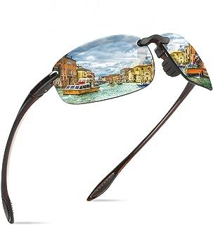 JULI Sports Sunglasses for Men Women Tr90 Rimless Frame Brand Designer for Running Fishing Baseball Driving 8001