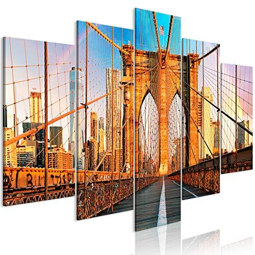 murando Cuadro en Lienzo Nueva York 225x112 cm Impresión de 5 Piezas Material Tejido no Tejido Impresión Artística Imagen Gráfica Decoracion de Pared Manhattan Brooklyn Puente d-B-0254-b-m