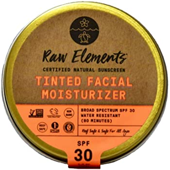 Raw Elements Tinted Facial Moisturizer Certified Natural Sunscreen   Non-Nano Zinc Oxide, 95% Organic, Very Water Resistant,Reef Safe,Non-GMO, Cruelty Free,SPF 30+, All Ages Safe, Reusable Tin, 1.8oz