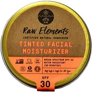 Raw Elements Tinted Facial Moisturizer Certified Natural Sunscreen | Non-Nano Zinc Oxide, 95% Organic, Very Water Resistan...