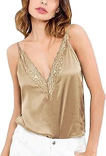 CNFIO Camisetas Tirantes Mujer Blusa Casual Top Sin Mangas Cami Tank Tops para Mujer