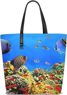 FANTAZIO Schultertasche für Damen, Korallenriff, Korallenrot