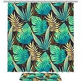 Better Home Style 2-teiliges Badezimmer-Vorleger-Set, einfarbig, modernes Design, inklusive Badvorleger, Duschvorhang, tropische Blätter, grün-gelbes Muster