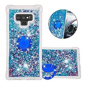FAWUMAN Hülle für Samsung Galaxy Note9 Diamant Ring Flüssig Treibsand Silikon TPU Bumper Hülle für Samsung Galaxy Note9(Blaue Liebe)