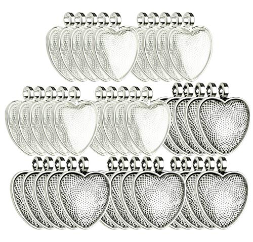 Bastex Heart Shaped Pendants for Jewelry Making. 80 Pieces of DIY Pendant Tray Necklace Charms, Includes Metal Bezels and Cabochons - 1 inch, Silver and Black